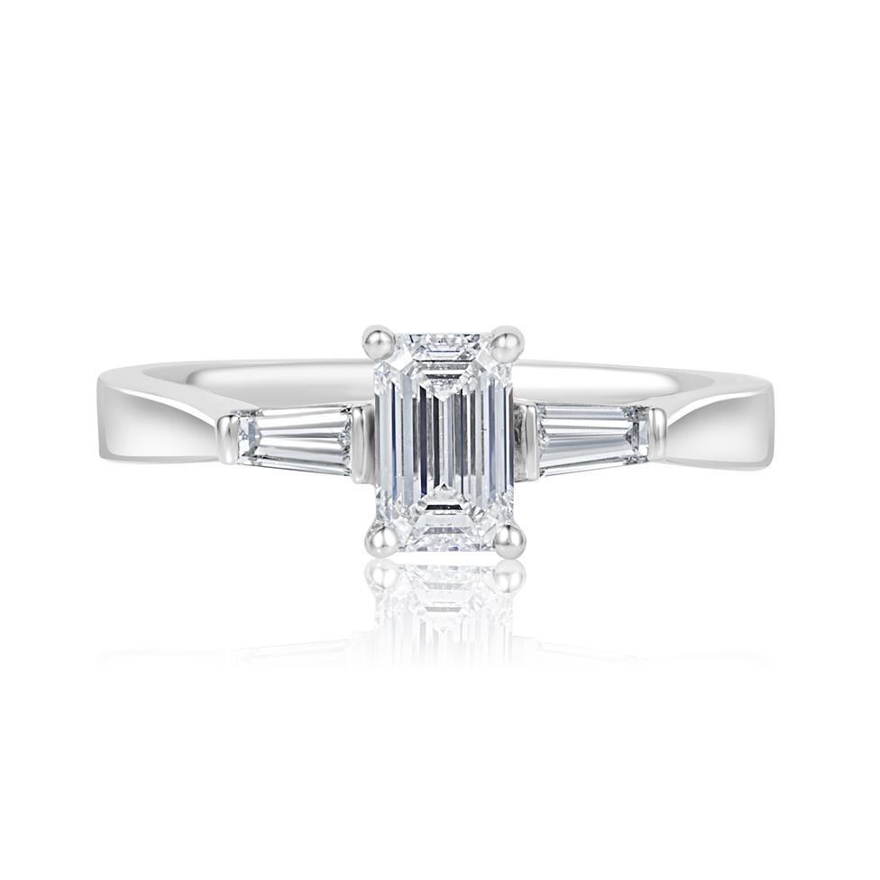 Platinum Emerald Cut And Baguette Cut Diamond Three Stone Engagement Ring 0.80ct Thumbnail Image 2