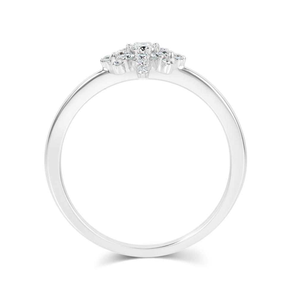 18ct White Gold Star Design Diamond Dress Ring Thumbnail Image 3