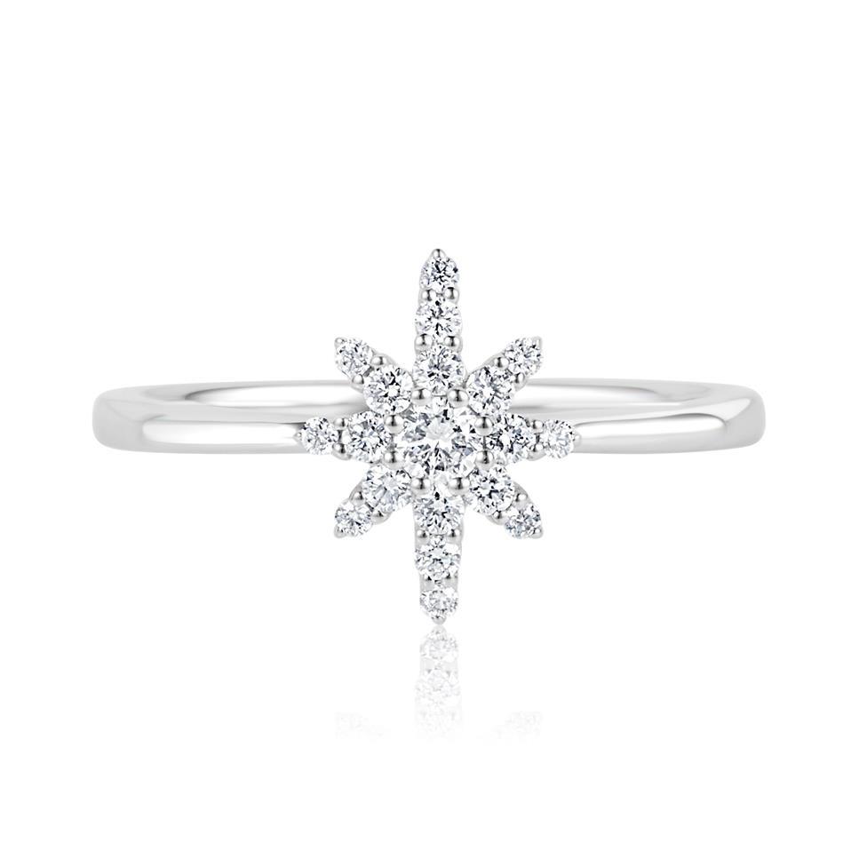 18ct White Gold Star Design Diamond Dress Ring Thumbnail Image 2
