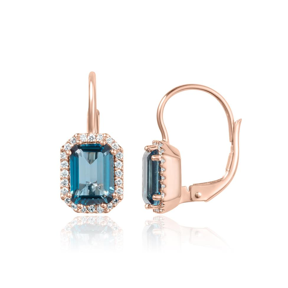 18ct Rose Gold Emerald Cut London Blue Topaz and Diamond Halo Drop Earrings Thumbnail Image 0
