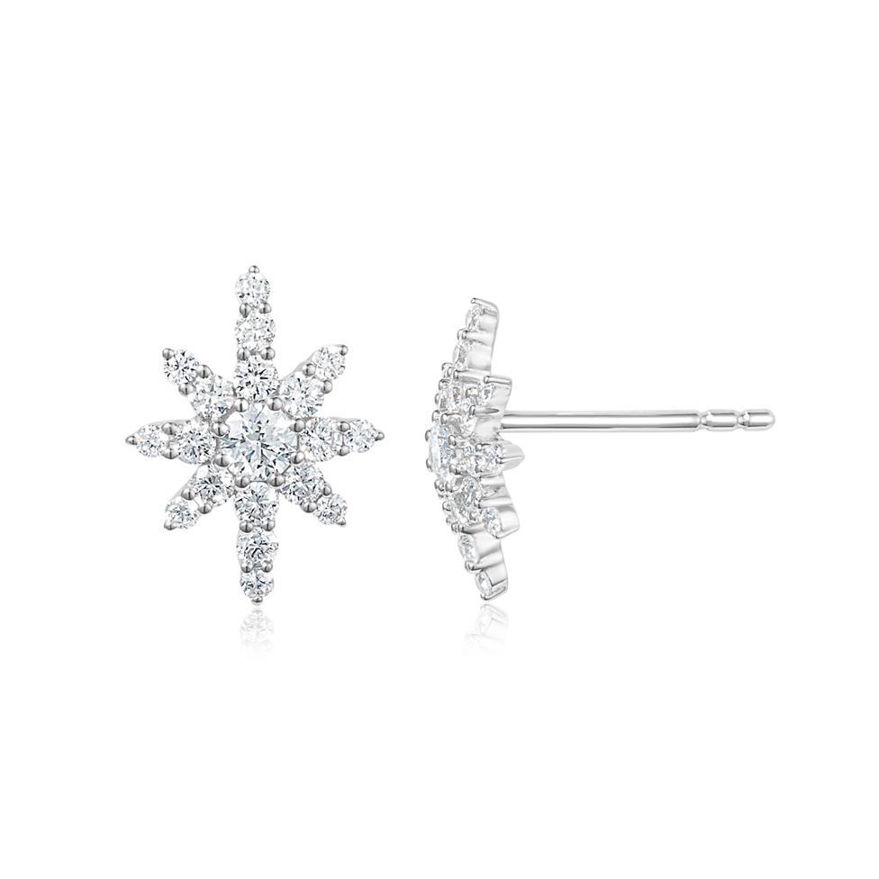 18ct White Gold Star Design Diamond Stud Earrings Thumbnail Image 0