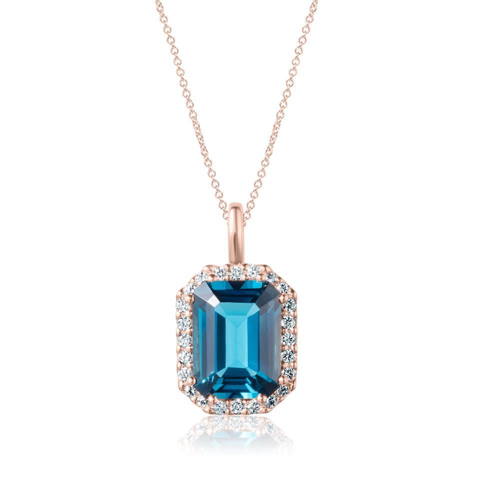 18ct Rose Gold Emerald Cut London Blue Topaz and Diamond Halo Pendant Thumbnail Image 0