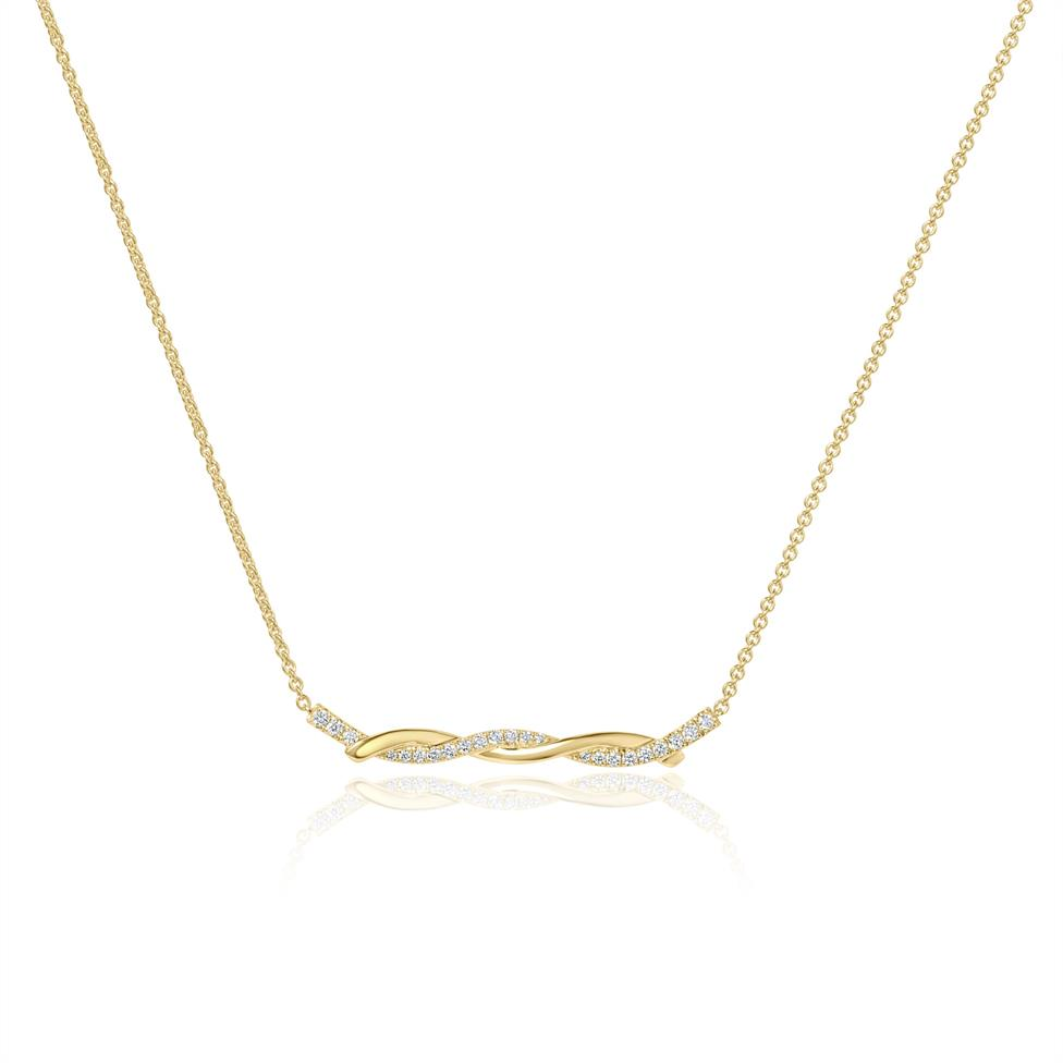 18ct Yellow Gold Plaited Design Diamond Necklace 0.18ct Thumbnail Image 0