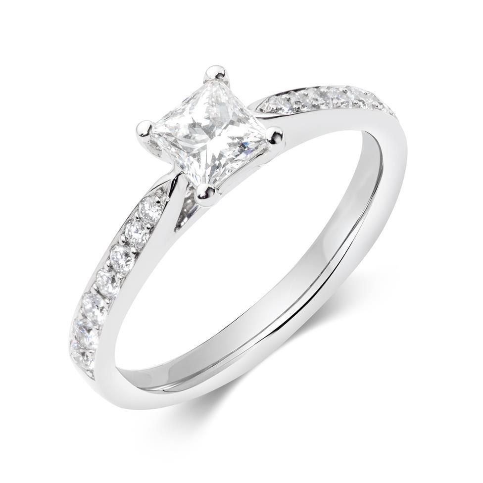 Platinum Princess Cut Diamond Solitaire Engagement Ring 0.75ct Thumbnail Image 0