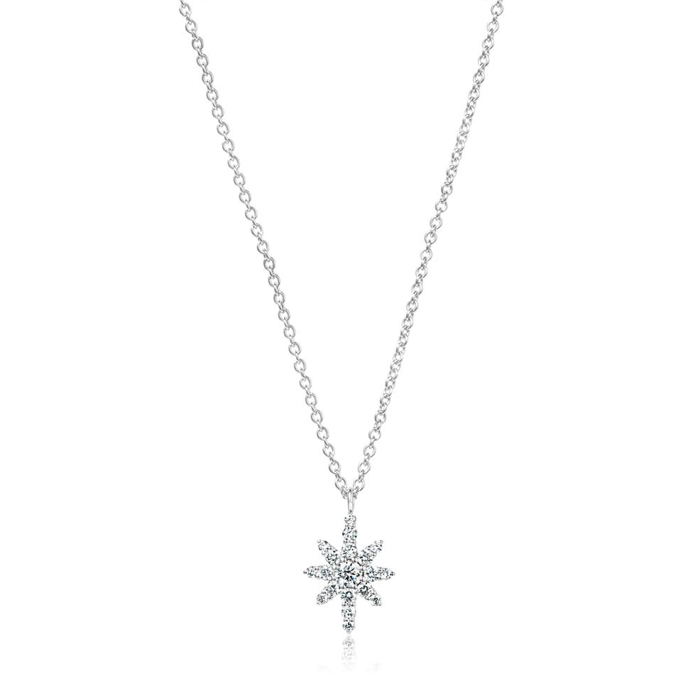18ct White Gold Star Design Diamond Necklace 0.23ct Thumbnail Image 0