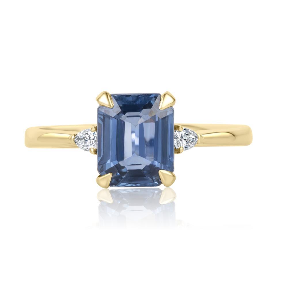 18ct Yellow Gold Light Blue Sapphire and Diamond Three Stone Engagement Ring Thumbnail Image 2