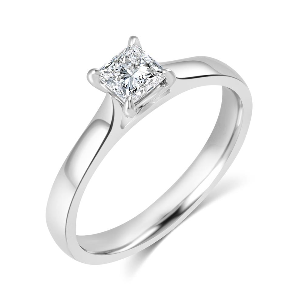 Platinum Classic Design Princess Cut Diamond Solitaire Engagement Ring 0.40ct Thumbnail Image 0