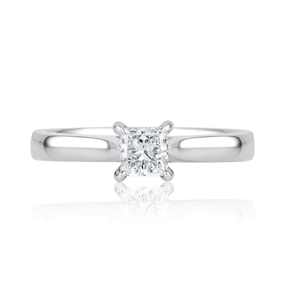 Platinum Classic Design Princess Cut Diamond Solitaire Engagement Ring 0.40ct Thumbnail Image 1