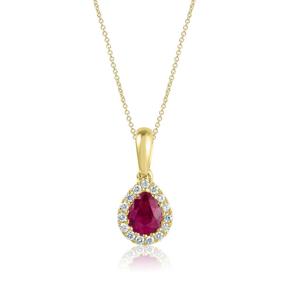 Camellia 18ct Yellow Gold Ruby and Diamond Teardrop Halo Pendant  Thumbnail Image 0
