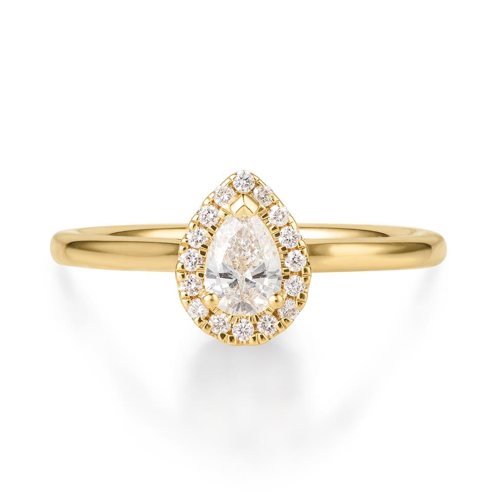 18ct Yellow Gold Pear Shape Halo Diamond Ring Thumbnail Image 0