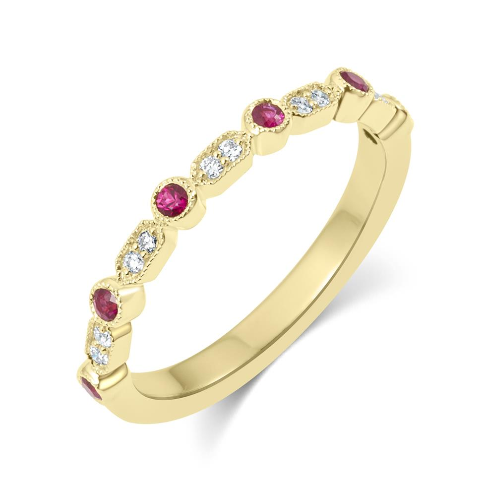18ct Yellow Gold Vintage Style Ruby and Diamond Half Eternity Ring Thumbnail Image 0