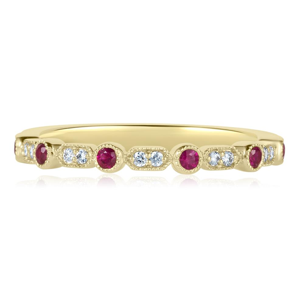 18ct Yellow Gold Vintage Style Ruby and Diamond Half Eternity Ring Thumbnail Image 2