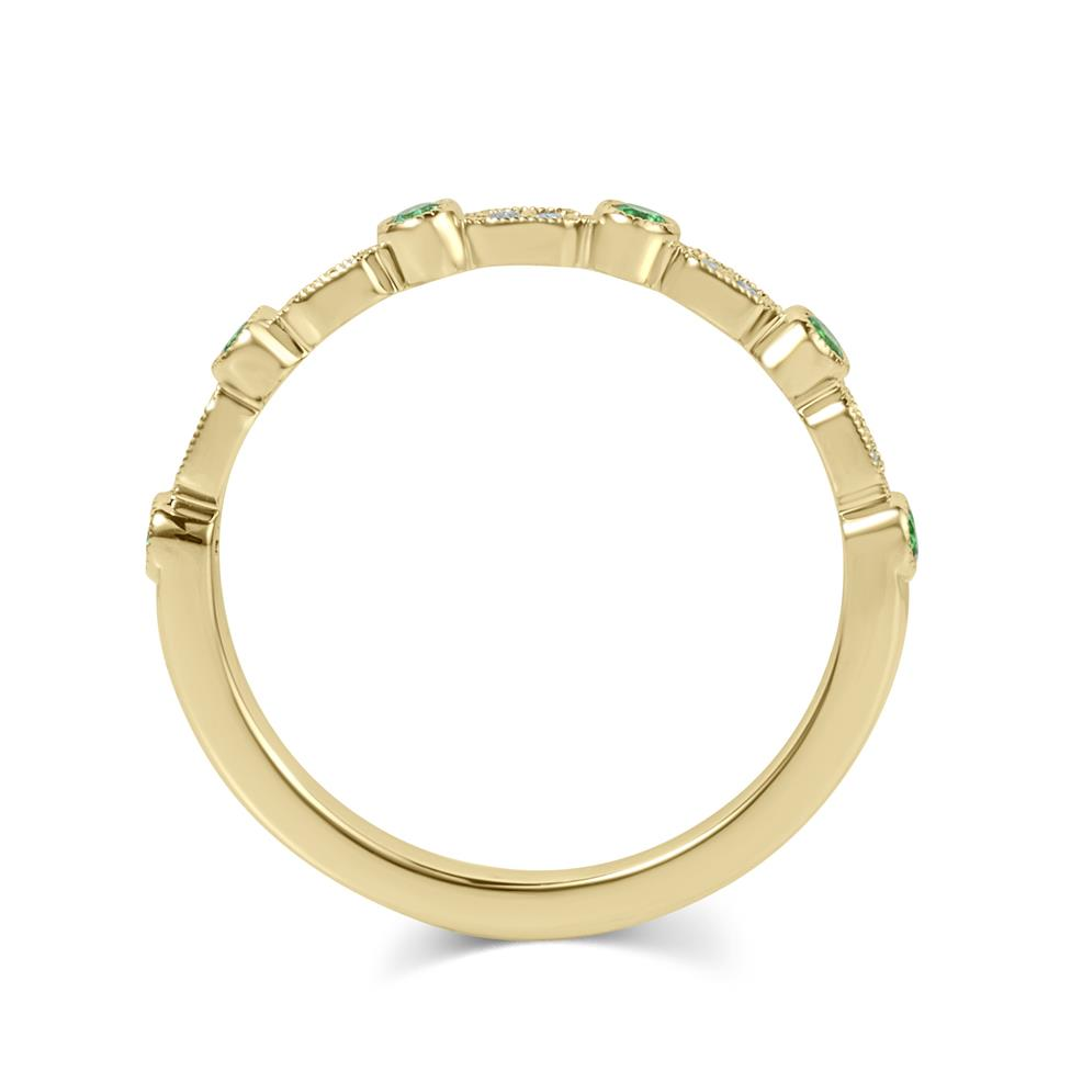 18ct Yellow Gold Vintage Style Emerald and Diamond Half Eternity Ring Thumbnail Image 2