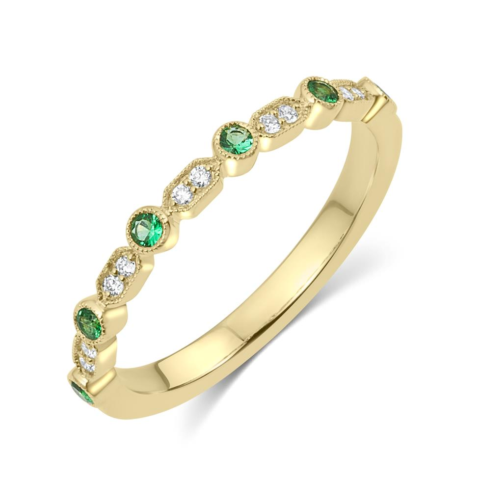 18ct Yellow Gold Vintage Style Emerald and Diamond Half Eternity Ring Thumbnail Image 0