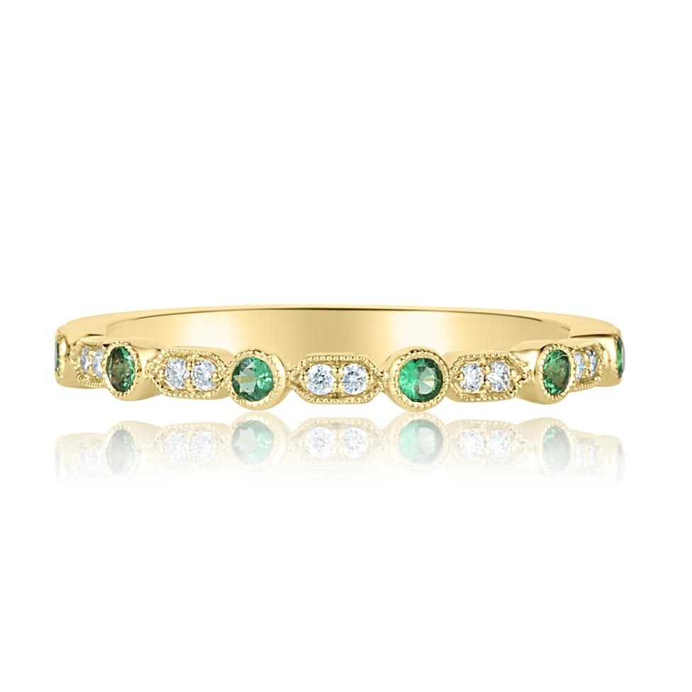 18ct Yellow Gold Vintage Style Emerald and Diamond Half Eternity Ring Thumbnail Image 1