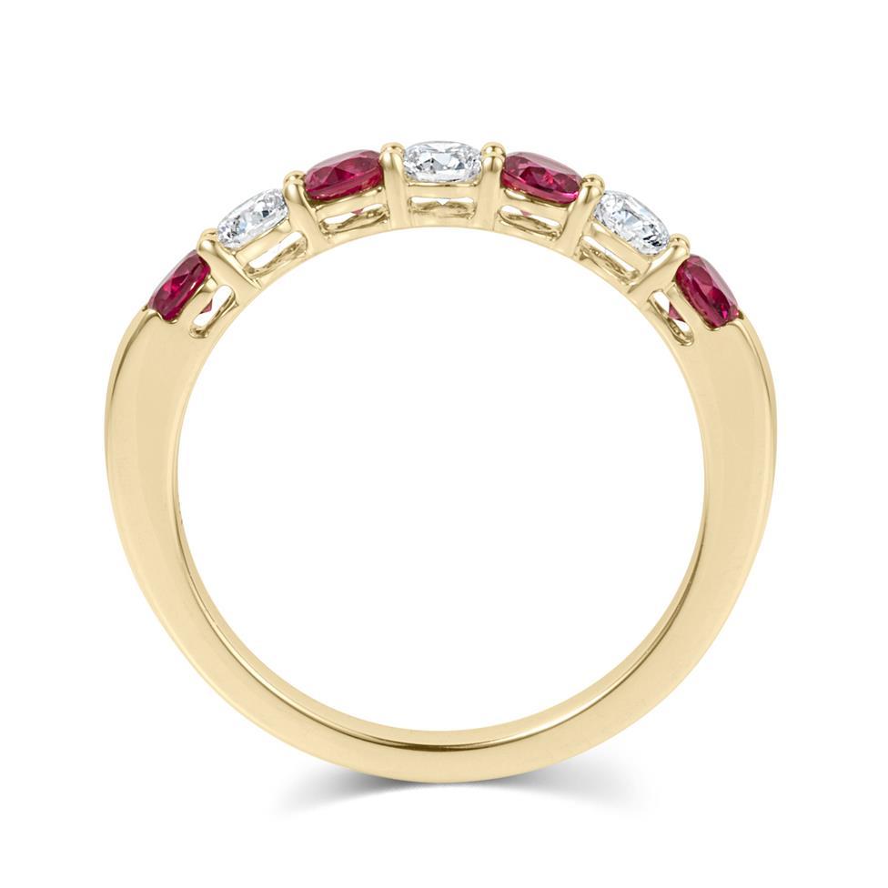 18ct Yellow Gold Ruby and Diamond Half Eternity Ring Thumbnail Image 3