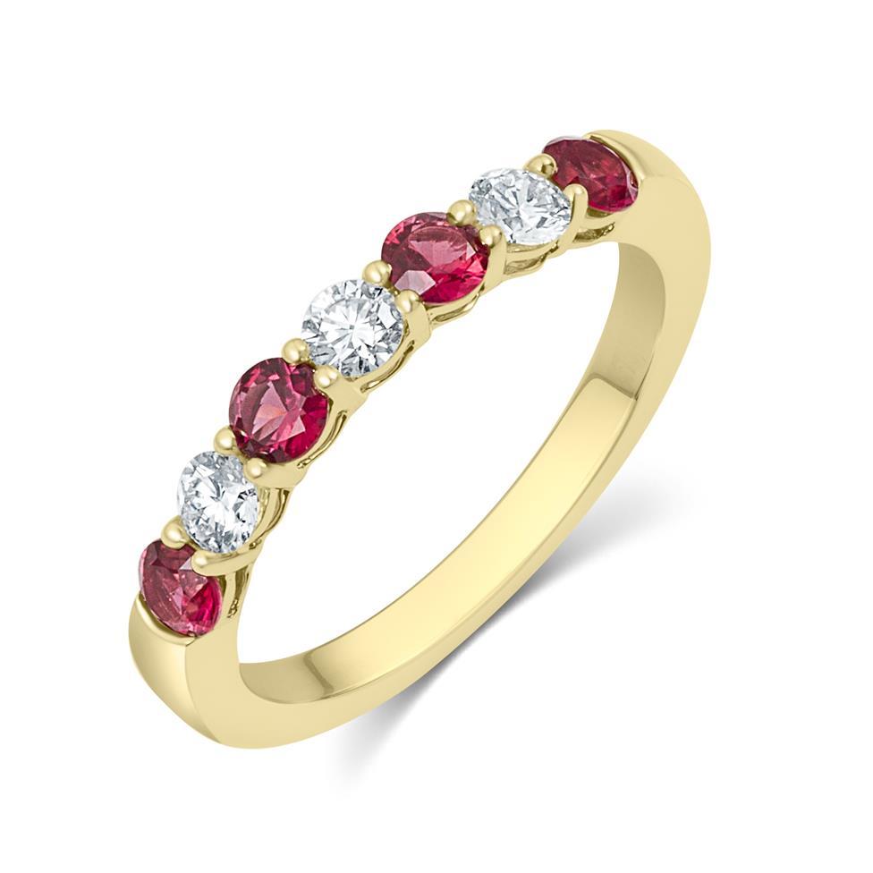 18ct Yellow Gold Ruby and Diamond Half Eternity Ring Thumbnail Image 0