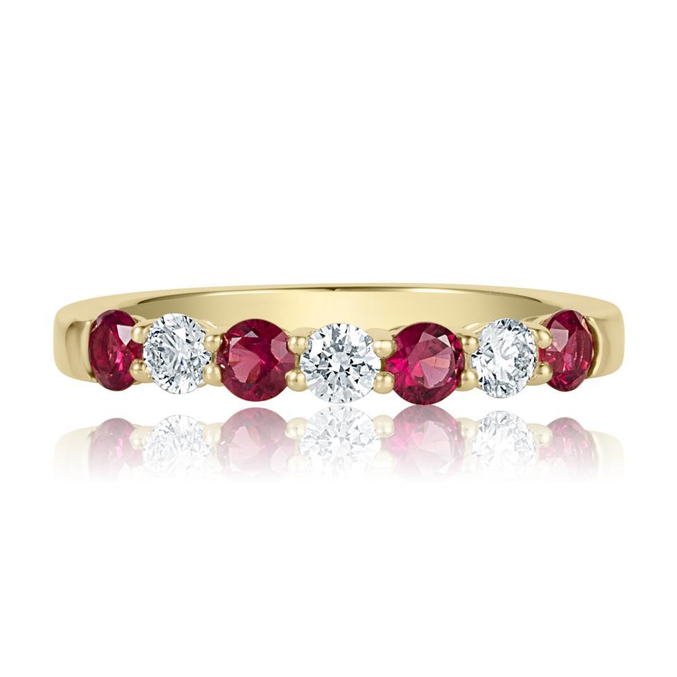 18ct Yellow Gold Ruby and Diamond Half Eternity Ring Thumbnail Image 2