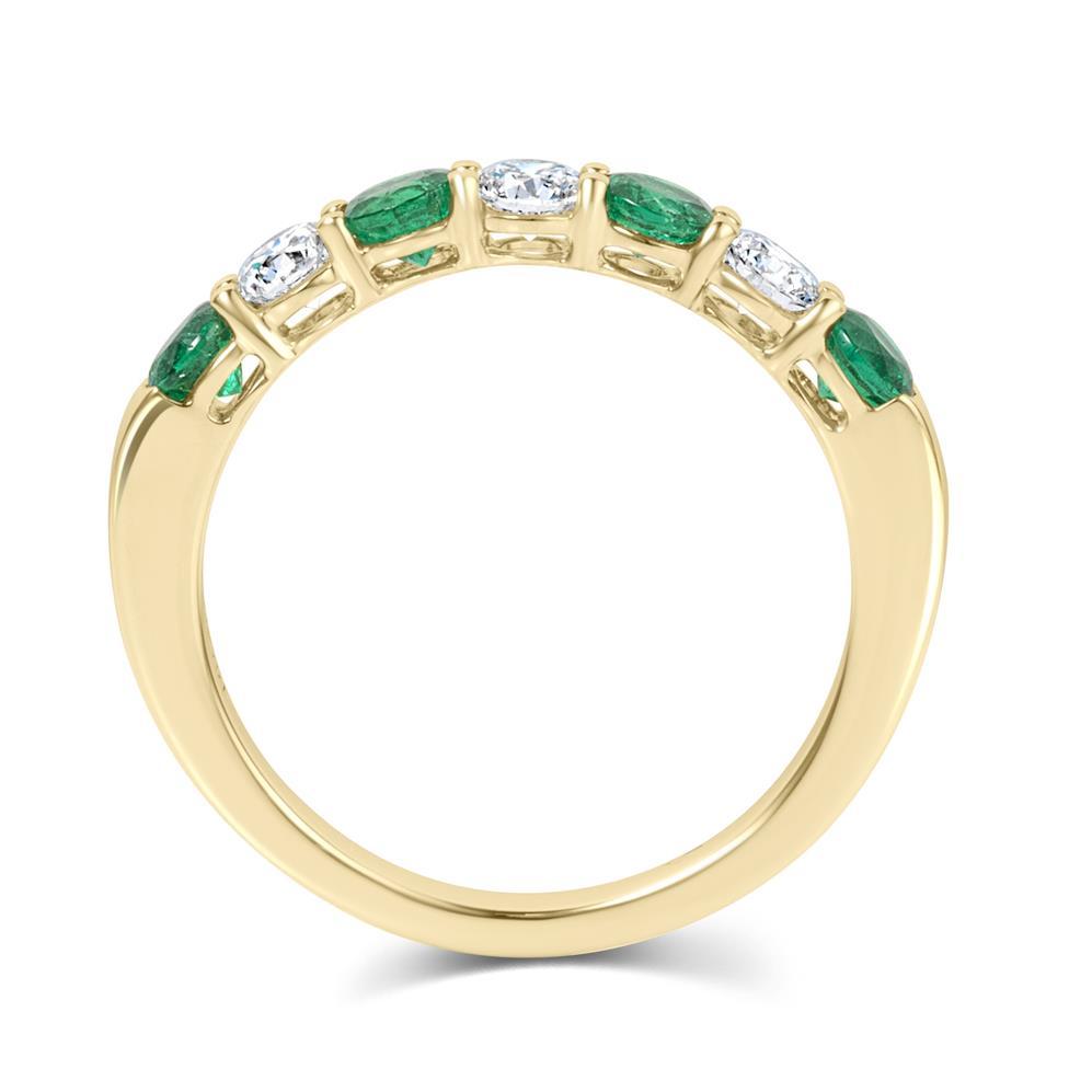 18ct Yellow Gold Emerald and Diamond Half Eternity Ring Thumbnail Image 3