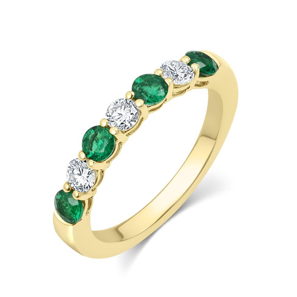 18ct Yellow Gold Emerald and Diamond Half Eternity Ring Thumbnail Image 0