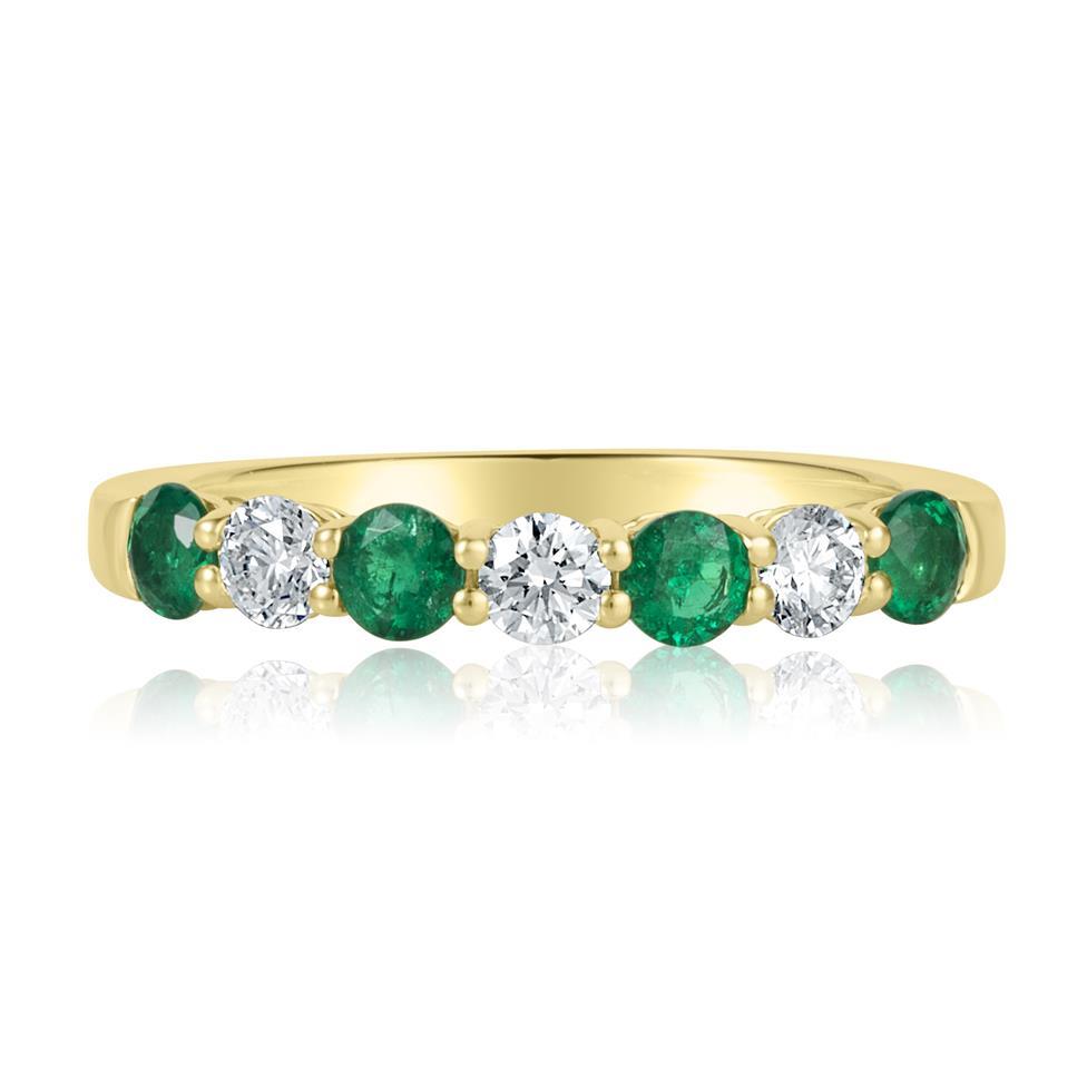 18ct Yellow Gold Emerald and Diamond Half Eternity Ring Thumbnail Image 2