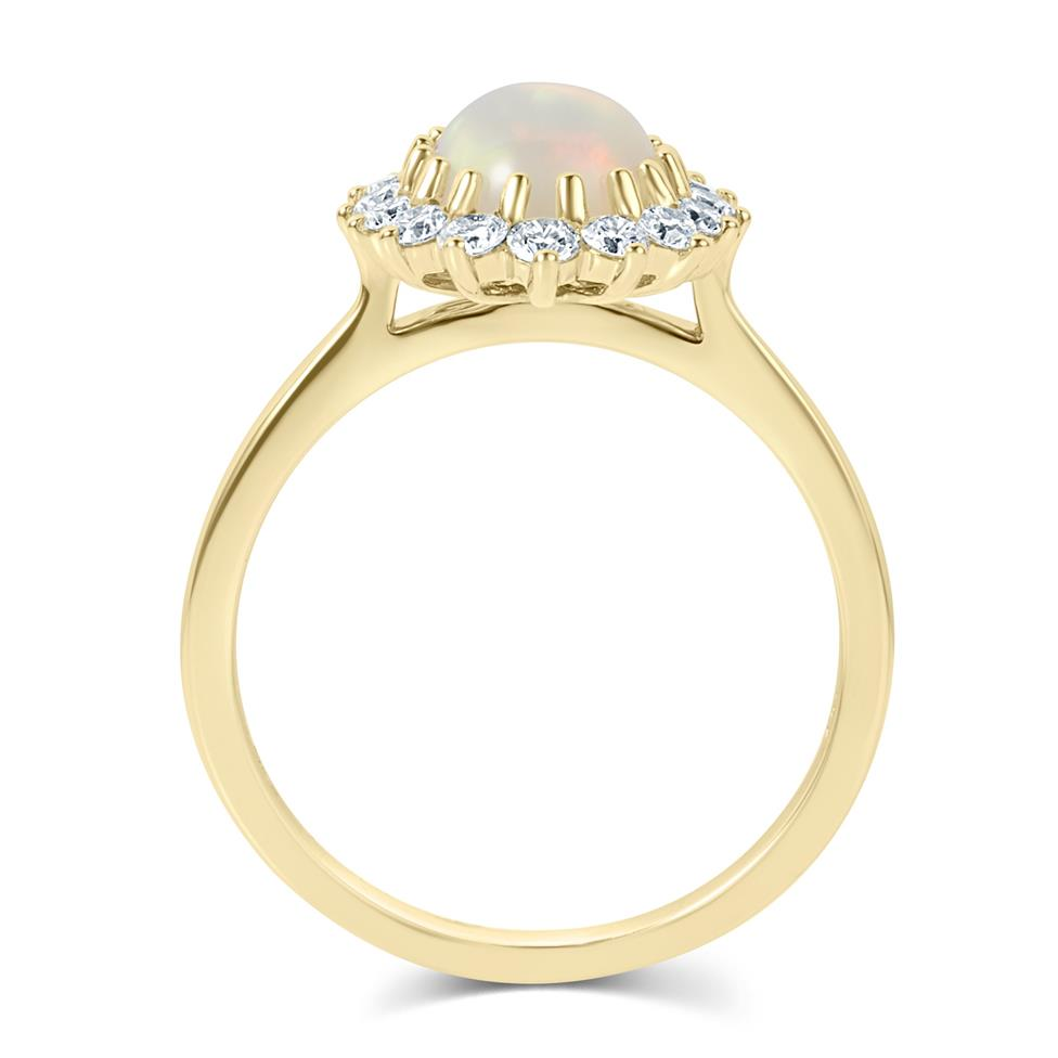 18ct Yellow Gold Opal and Diamond Cluster Dress Ring Thumbnail Image 3