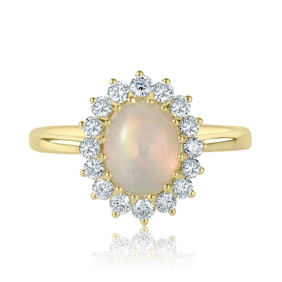 18ct Yellow Gold Opal and Diamond Cluster Dress Ring Thumbnail Image 2
