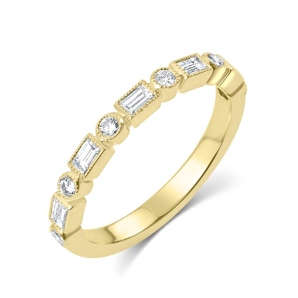 18ct Yellow Gold Vintage Style Baguette and Round Diamond Half Eternity Ring Thumbnail Image 0