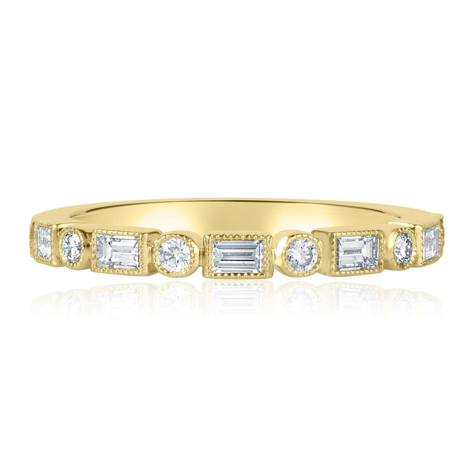 18ct Yellow Gold Vintage Style Baguette and Round Diamond Half Eternity Ring Thumbnail Image 2