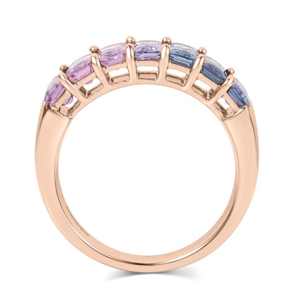 Samba 18ct Rose Gold Emerald Cut Multicoloured Sapphire Dress Ring Thumbnail Image 4