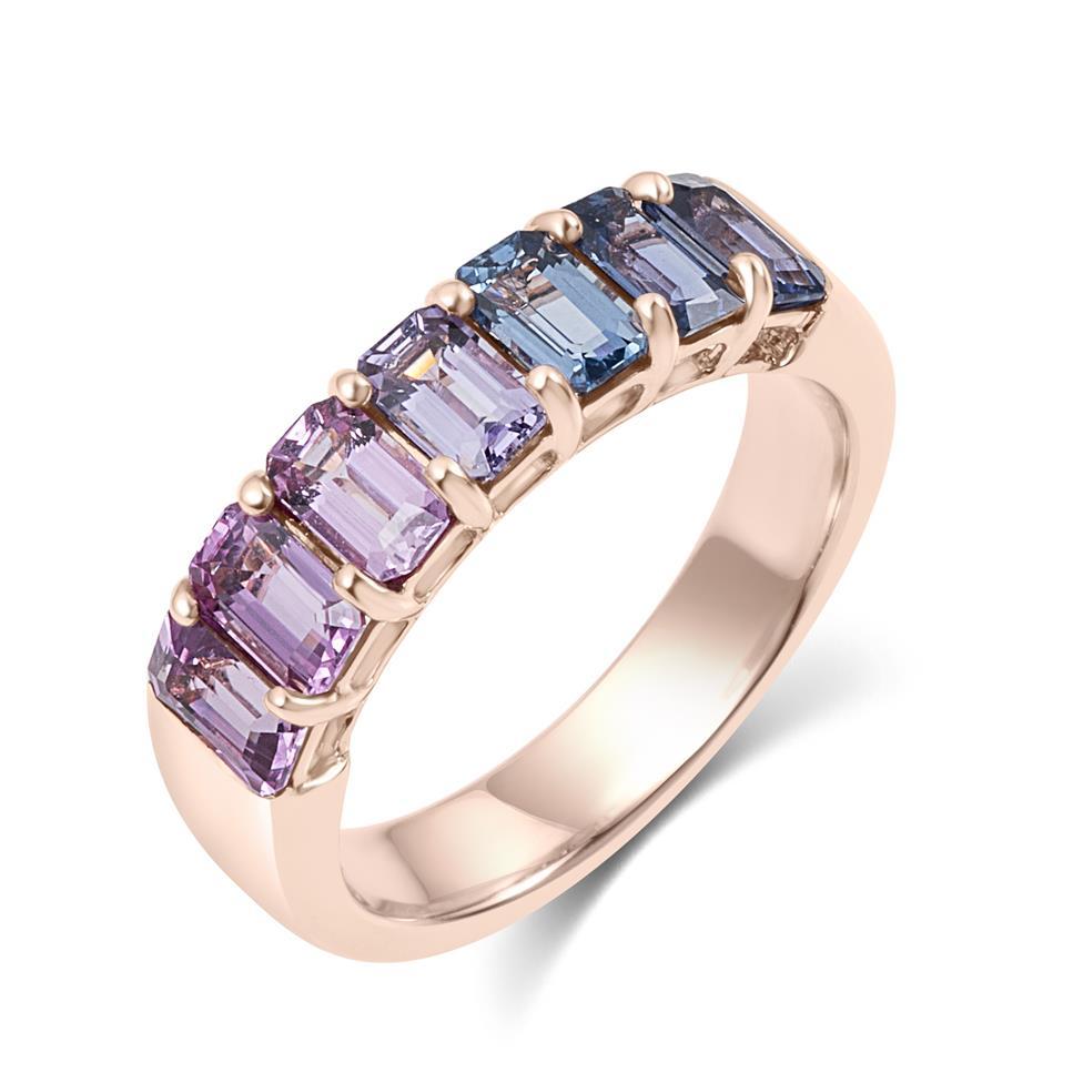 Samba 18ct Rose Gold Emerald Cut Multicoloured Sapphire Dress Ring Thumbnail Image 0