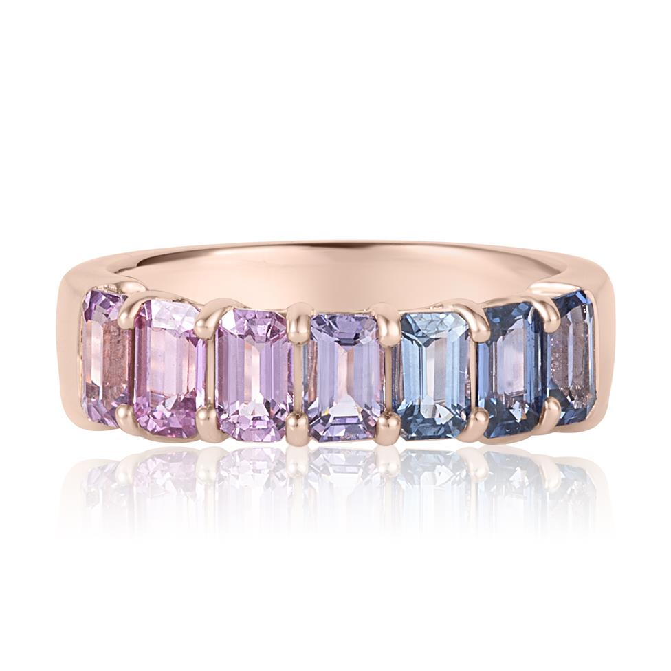 Samba 18ct Rose Gold Emerald Cut Multicoloured Sapphire Dress Ring Thumbnail Image 3