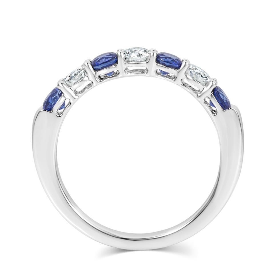Platinum Sapphire and Diamond Half Eternity Ring Thumbnail Image 4