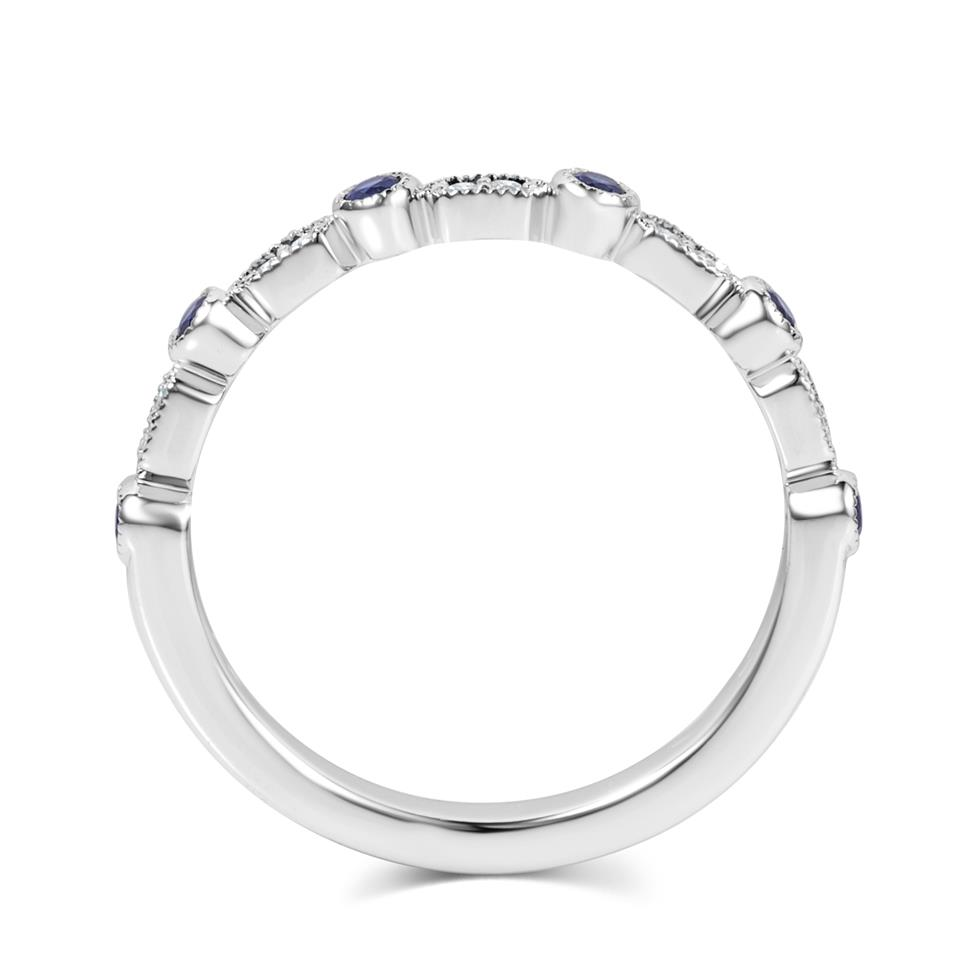 18ct White Gold Vintage Style Sapphire and Diamond Half Eternity Ring Thumbnail Image 3