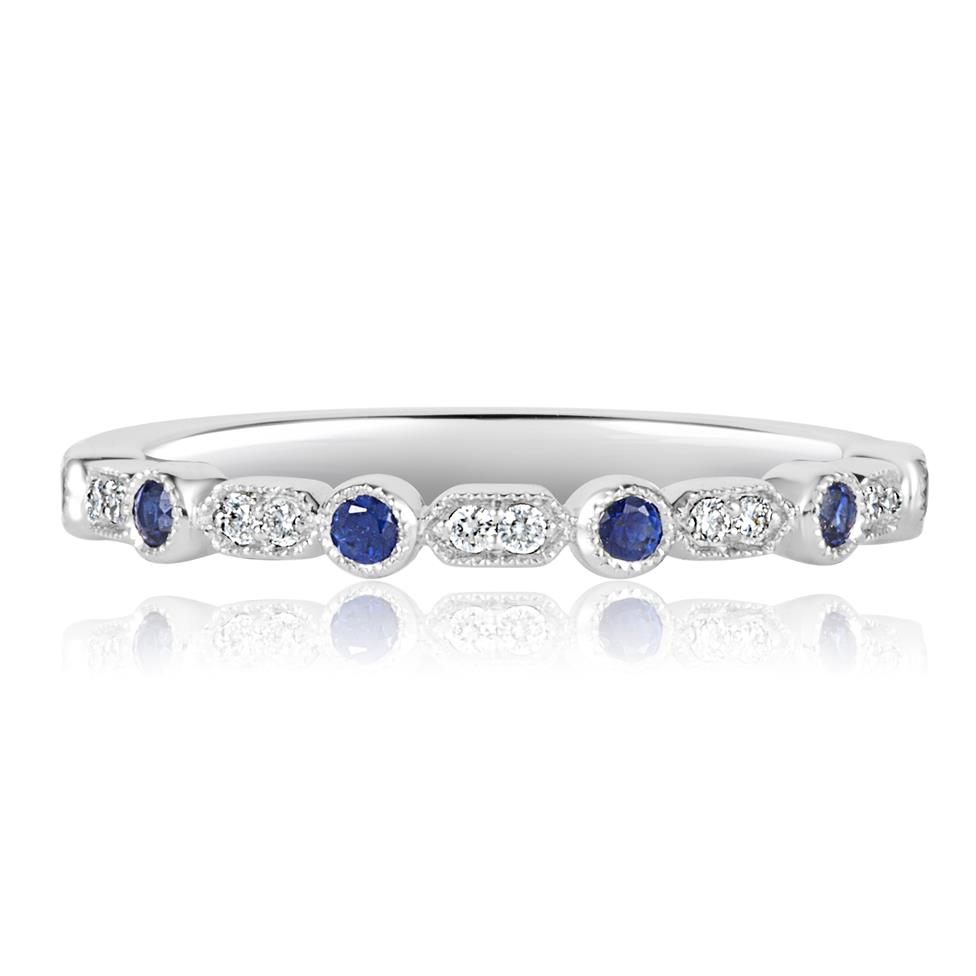 18ct White Gold Vintage Style Sapphire and Diamond Half Eternity Ring Thumbnail Image 2