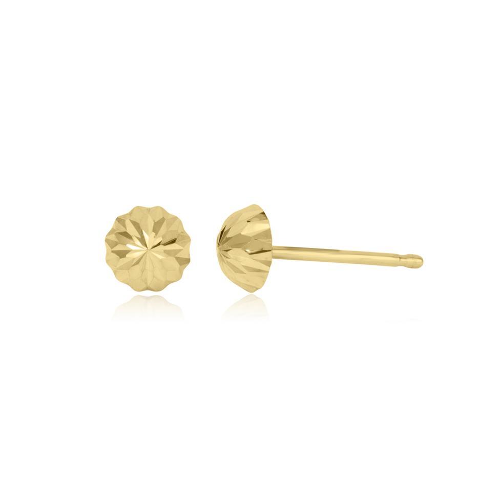 18ct Yellow Gold Diamond-cut Dome Stud Earrings Thumbnail Image 0
