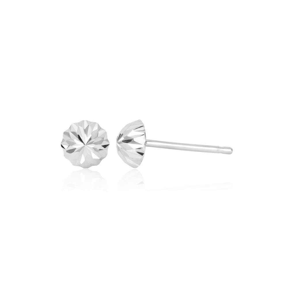 18ct White Gold Diamond-cut Dome Stud Earrings Thumbnail Image 0