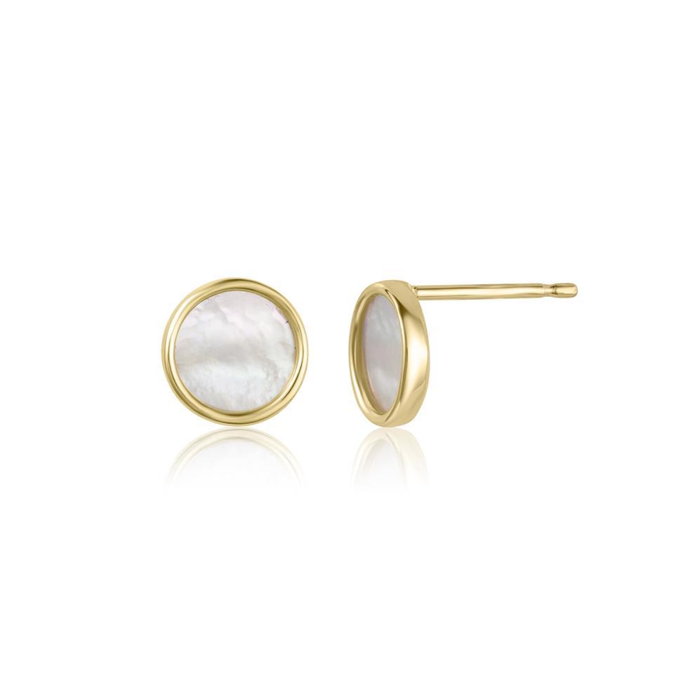 Nova 18ct Yellow Gold Mother of Pearl Stud Earrings Thumbnail Image 0