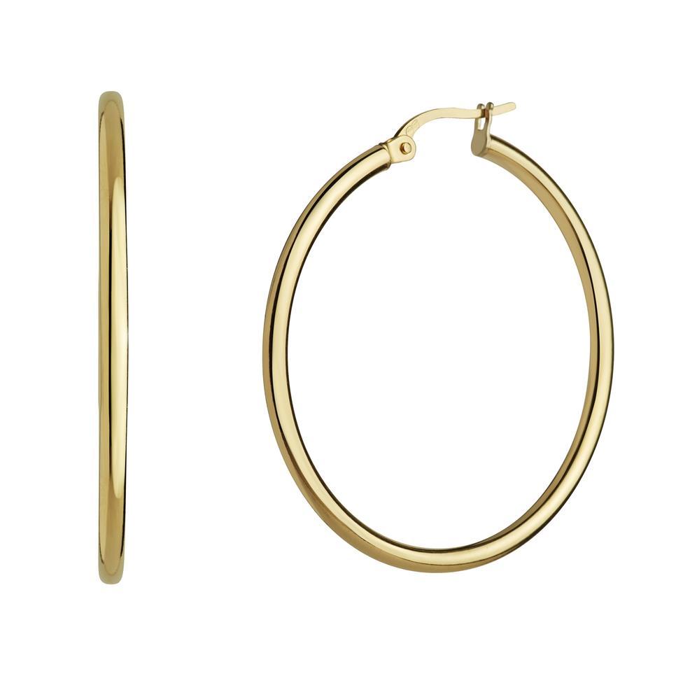 18ct Yellow Gold Hoop Earrings 29mm Thumbnail Image 0