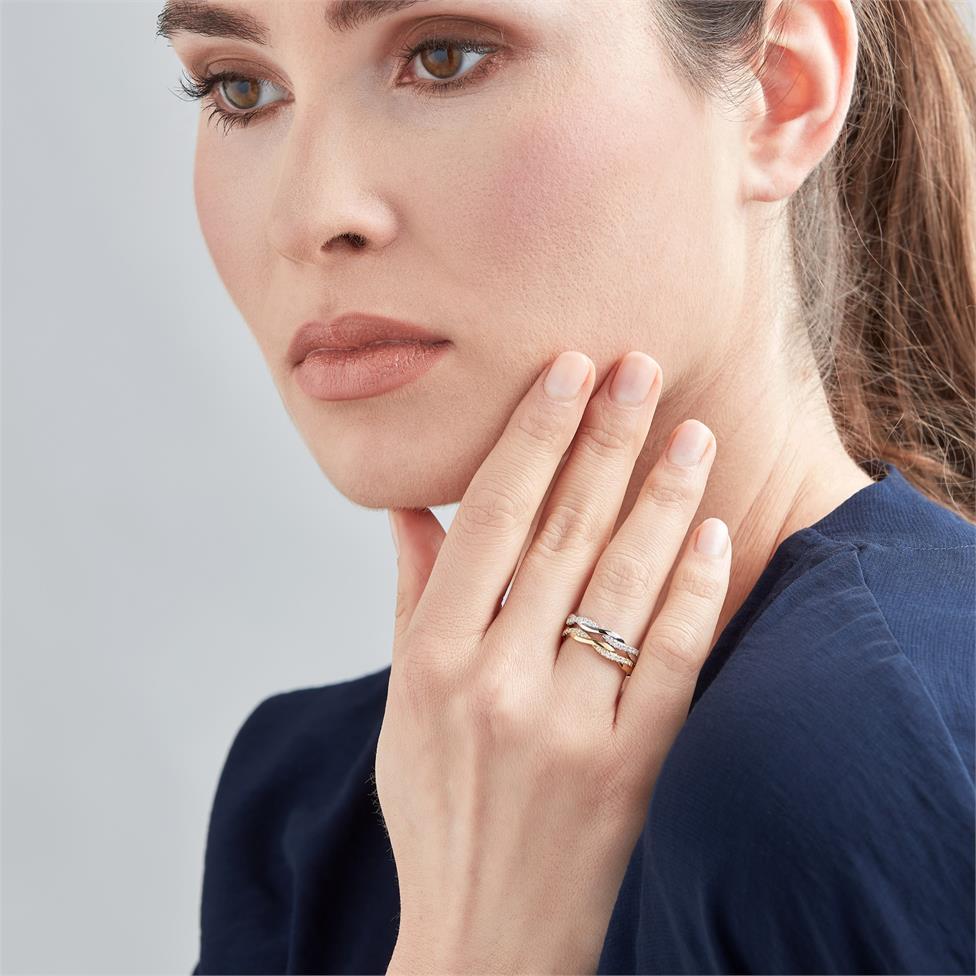 18ct Yellow Gold Plait Design Diamond Set Wedding Ring 0.13ct Thumbnail Image 1