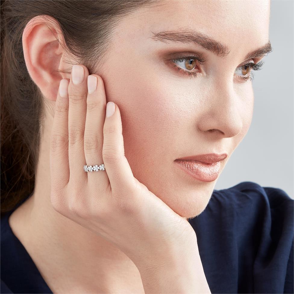 18ct White Gold Flower Design Diamond Dress Ring 0.45ct  Thumbnail Image 1