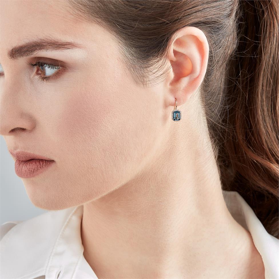 18ct Rose Gold Emerald Cut London Blue Topaz and Diamond Halo Drop Earrings Thumbnail Image 1