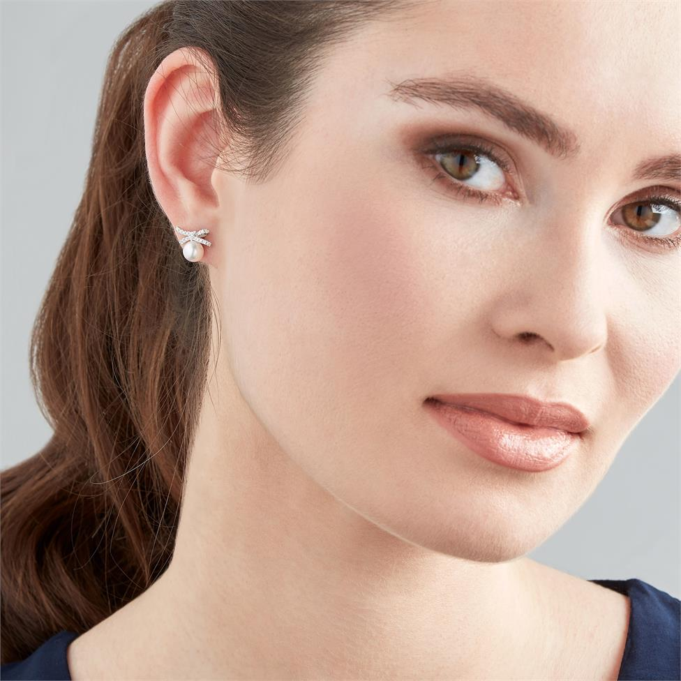 Isla 18ct White Gold Bow Design Pearl and Diamond Stud Earrings Thumbnail Image 1