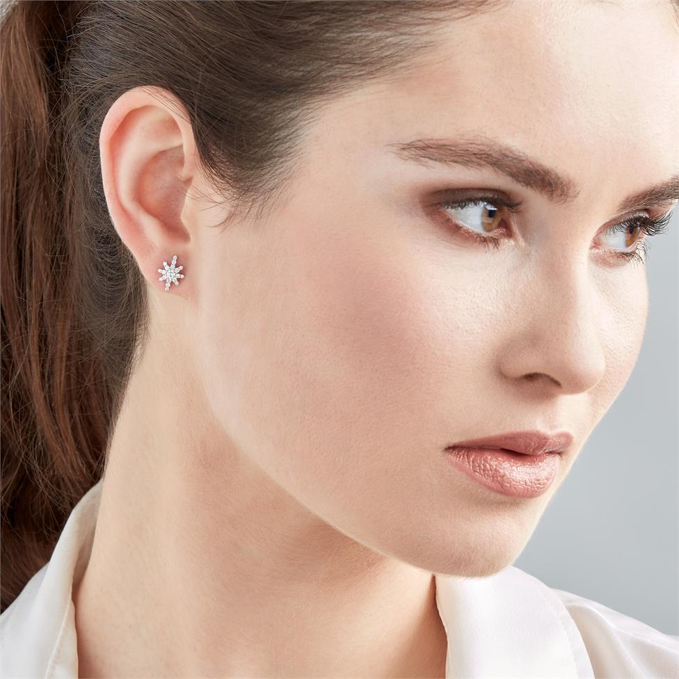 18ct White Gold Star Design Diamond Stud Earrings Thumbnail Image 1