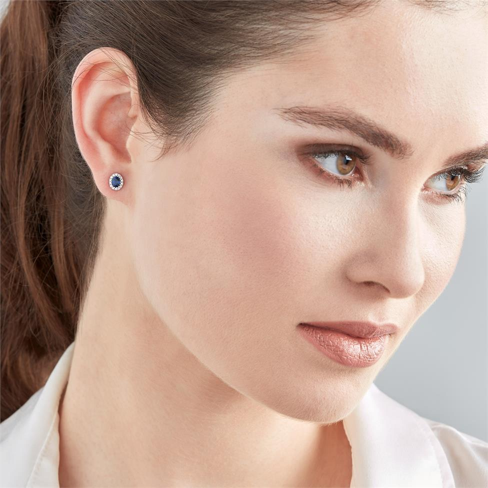Camellia 18ct White Gold Sapphire and Diamond Oval Halo Earrings  Thumbnail Image 1