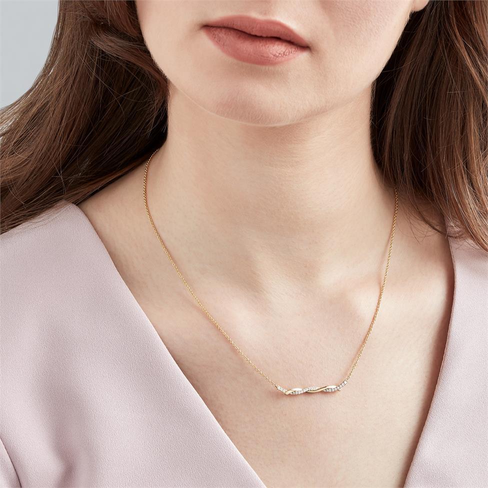 18ct Yellow Gold Plaited Design Diamond Necklace 0.18ct Thumbnail Image 1
