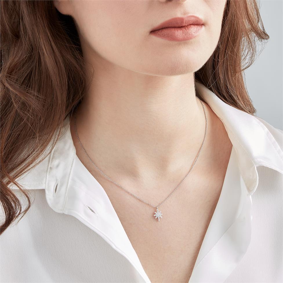 18ct White Gold Star Design Diamond Necklace 0.23ct Thumbnail Image 1