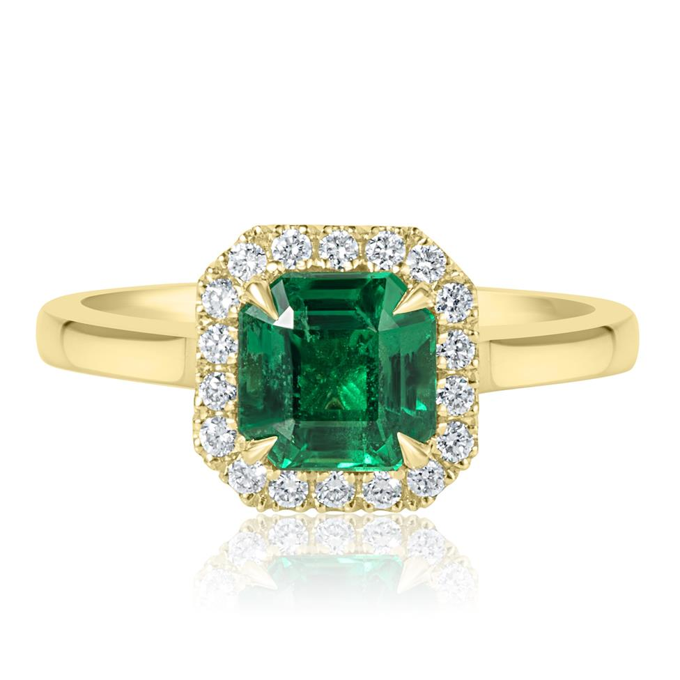 18ct Yellow Gold Asscher Cut Emerald and Diamond Halo Engagement Ring Thumbnail Image 2