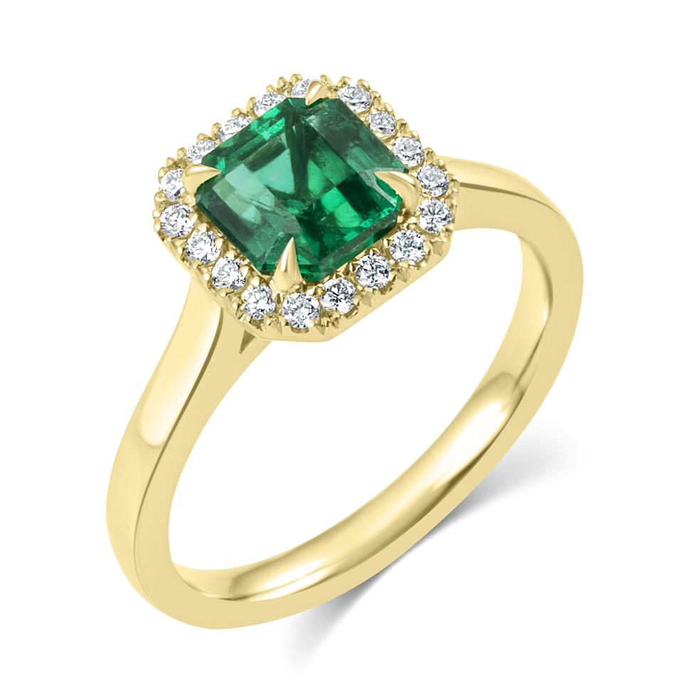 18ct Yellow Gold Asscher Cut Emerald and Diamond Halo Engagement Ring Thumbnail Image 0