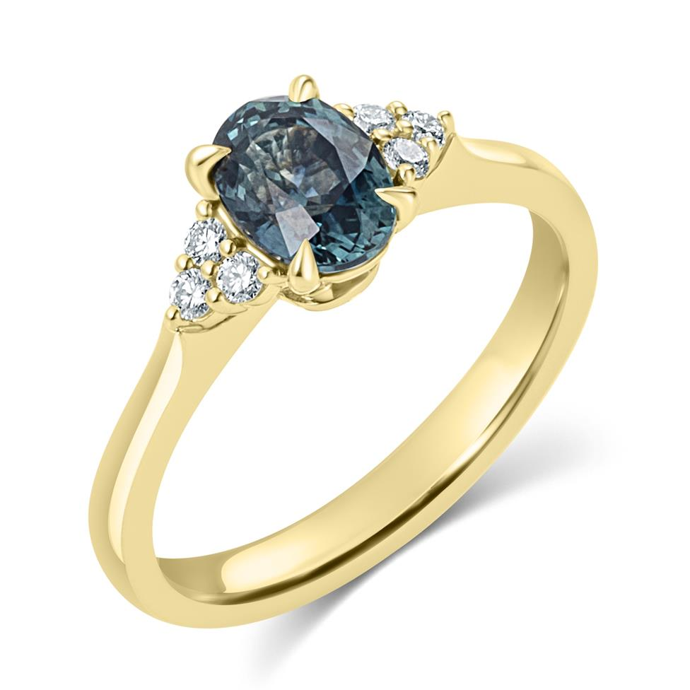 18ct Yellow Gold Oval Teal Sapphire and Diamond Engagement Ring Thumbnail Image 0